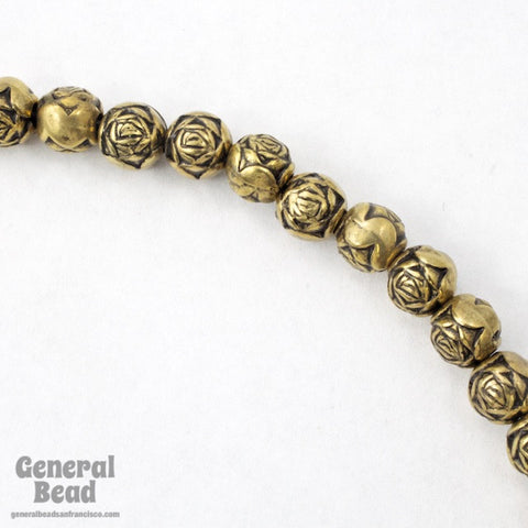 6mm Antique Gold Rose Bead #MPD015