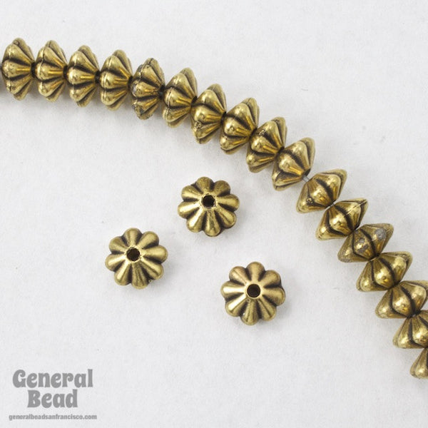 6mm Antique Gold Grooved Rondelle #MPD030