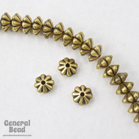 6mm Antique Gold Grooved Rondelle