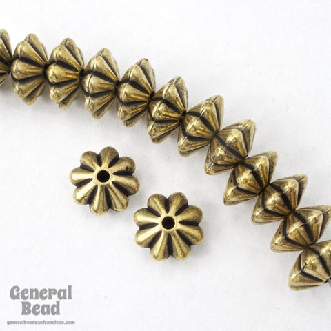 10mm Antique Gold Grooved Rondelle (25 Pcs) #MPD031-General Bead