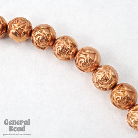 8mm Bright Copper Rose Bead #MPE016-General Bead
