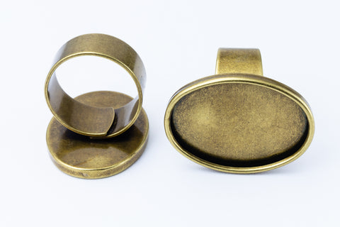 18mm x 25mm Antique Brass Oval Ring Base #MRA022
