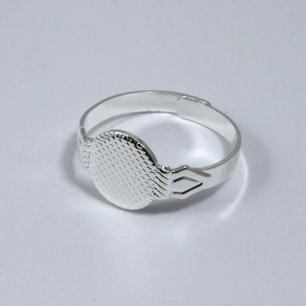 Adjustable Silver Ring Base w/ 10mm Pad