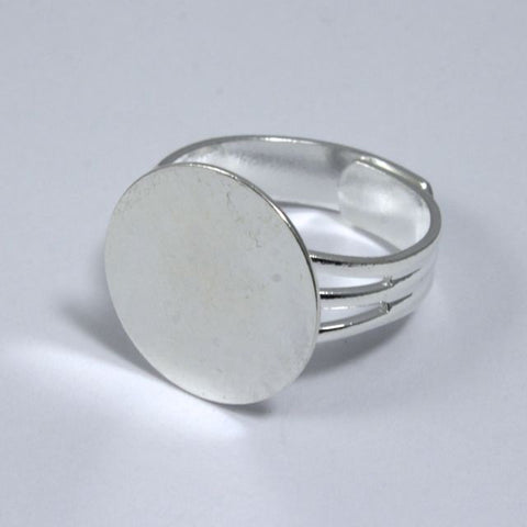 Silver Ring Base with 15mm Pad #MRB013-General Bead