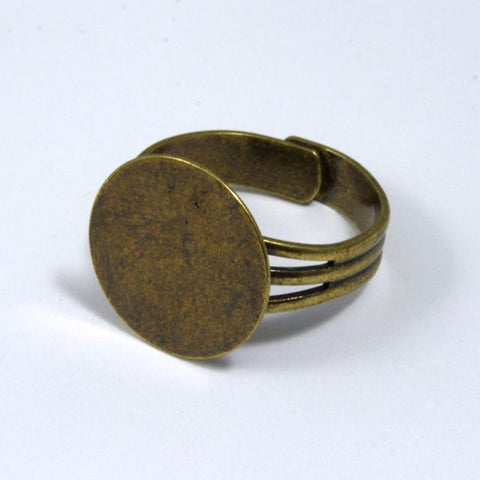 Antique Brass Ring Base with 15mm Pad #MRD013