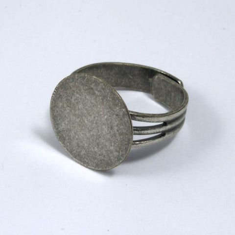 Antique Silver Ring Base with 15mm Pad #MRF013