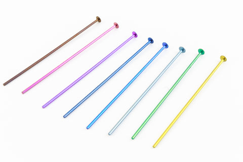 "1.5"" x .029"" Color Mix Plated Niobium Head Pin (48 Pcs) #NFX014"