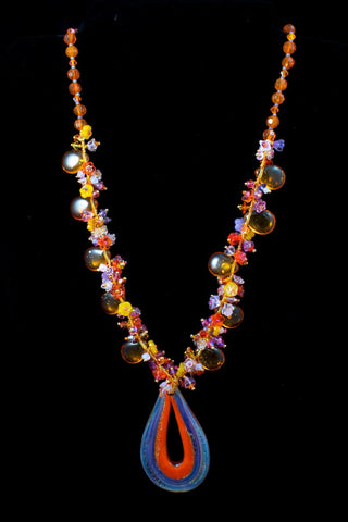 Orange and Lavender Sunglow Necklace-General Bead