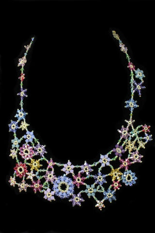 Springtime Crystal Flower Lace Necklace-General Bead