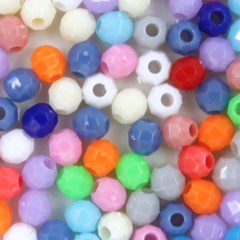 Opaque Mix Quality Plastic Faceted Bead-General Bead
