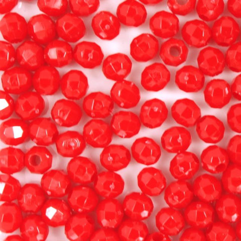 Red Quality Plastic Faceted Bead-General Bead