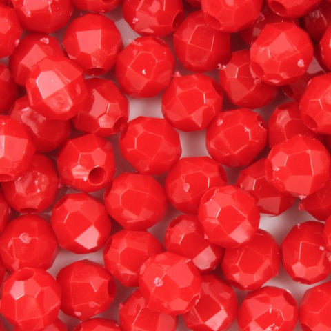 Beadery Opaque Red Faceted Round Beads (4mm, 6mm, 8mm, 10mm, 12mm)-General Bead