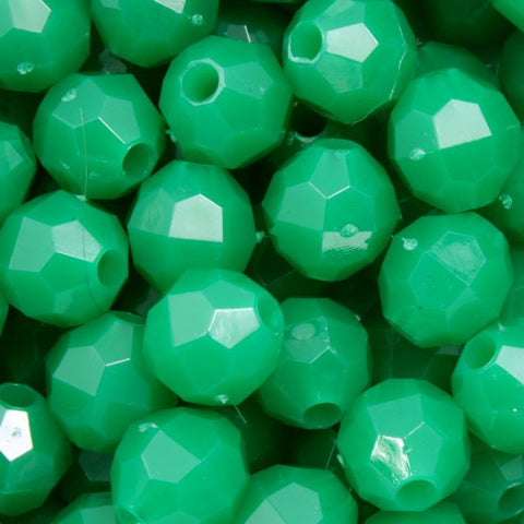 8mm Green Quality Plastic Faceted Bead