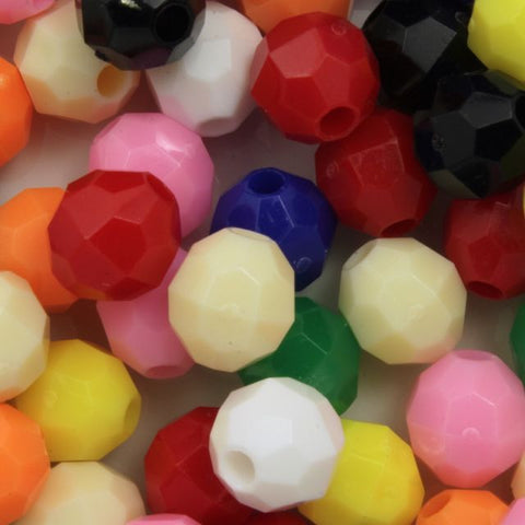 8mm Opaque Mix Quality Plastic Faceted Bead
