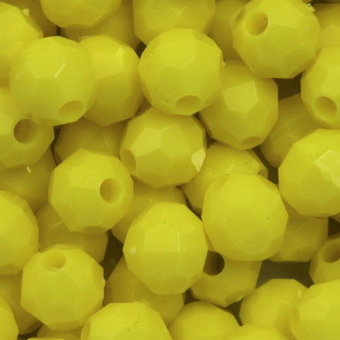 8mm Yellow Quality Plastic Faceted Bead