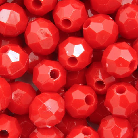 8mm Red Quality Plastic Faceted Bead