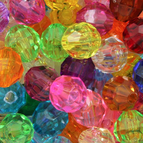 Transparent Mix Quality Plastic Faceted Bead-General Bead