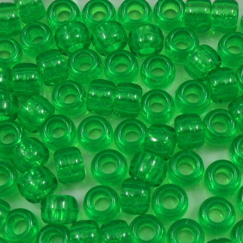 6mm x 9mm Transparent Lime Pony Plastic Craft Bead-General Bead