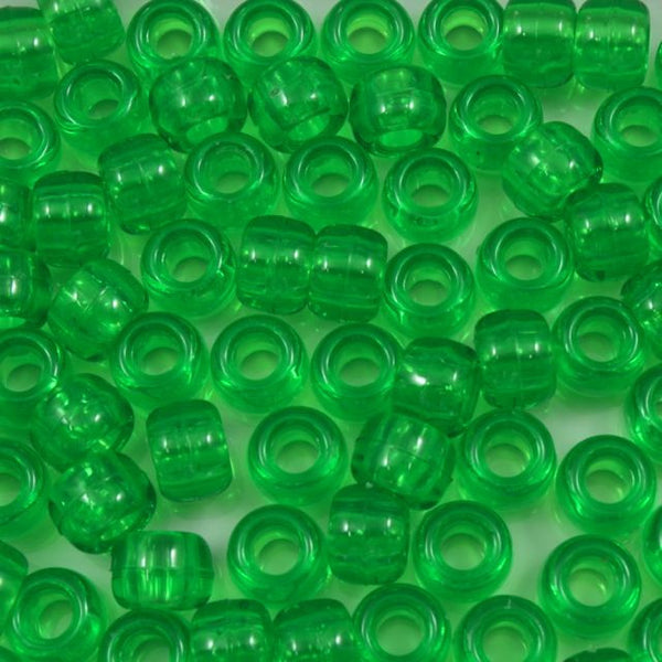 6mm x 9mm Transparent Lime Pony Plastic Craft Bead