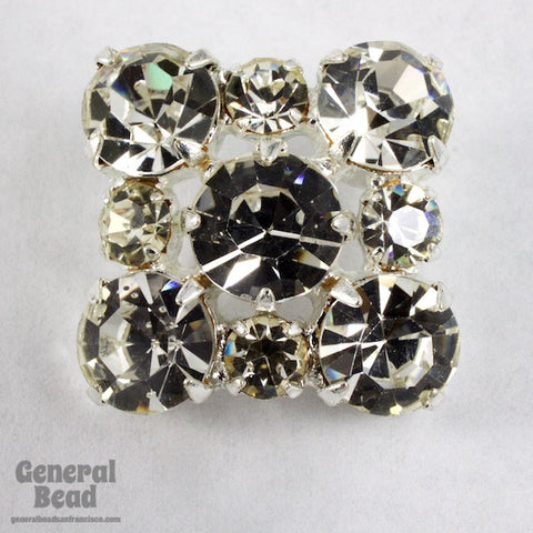 20mm Square Crystal Rhinestone Button-General Bead