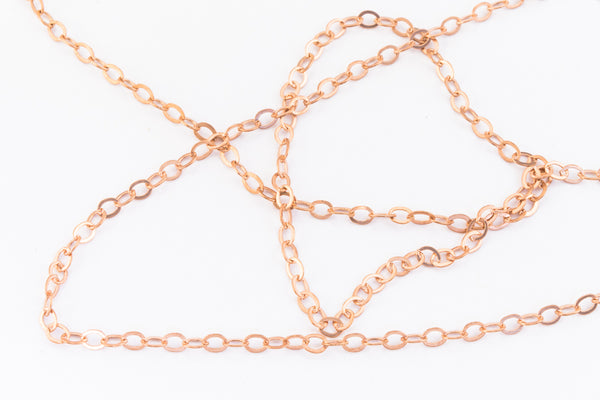 2mm Rose Gold Filled Fine Flat Cable Chain #RGR089