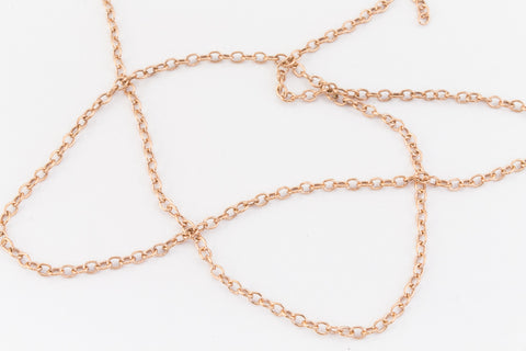 1.5mm Rose Gold Filled Round Cable Chain #RGY089-General Bead