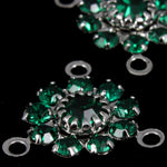 Rhinestone Flowers- Silver/Emerald-General Bead