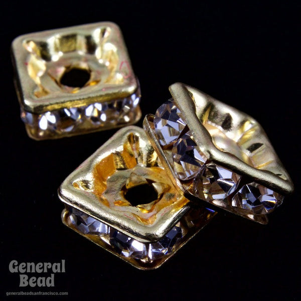 8mm Gold/Crystal Squaredelle