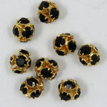 4.5mm Jet/Gold Rhinestone Ball Bead-General Bead