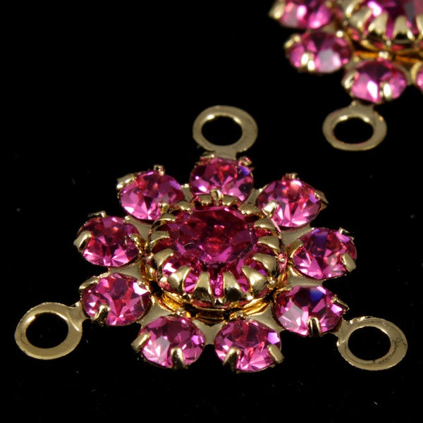 Rhinestone Flowers- Gold/Rose