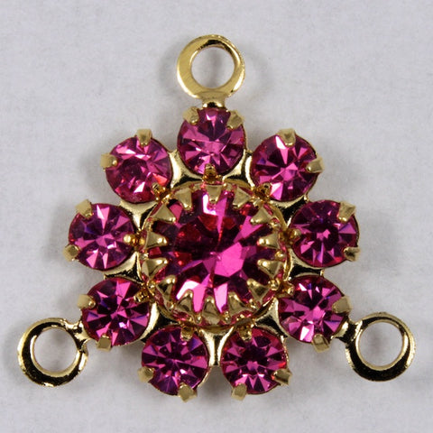 Rhinestone Flowers- Gold/Rose-General Bead