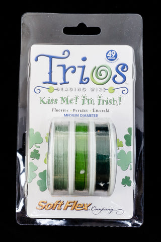 "Soft Flex Trios- ""Kiss Me! I'm Irish"" Medium-General Bead"