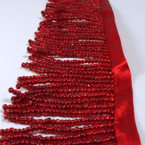 "2"" Silver-Lined Red Beaded Fringe"