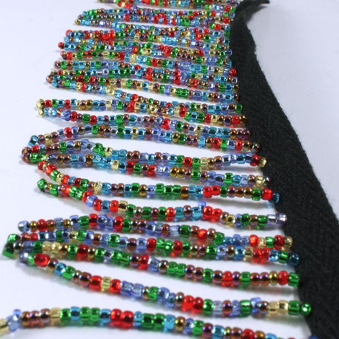 "2 1/4"" Silver Lined Multi-Color Beaded Fringe"