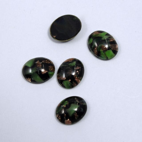 8mm x 10mm Dark Green and Gold #1025-General Bead
