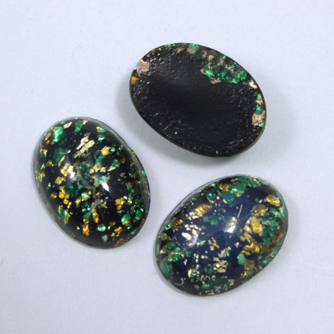 13mm x 18mm Dark Green and Gold #1026-General Bead