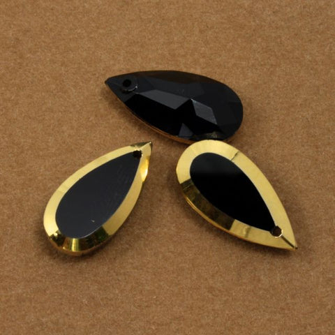 9mm x 18mm Black and Gold Teardrop Pendant #1056-General Bead