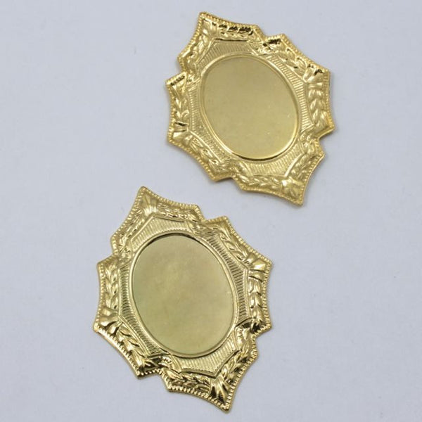 40mm Gold Floral Frame Cabochon Setting (2 Pcs) #1073