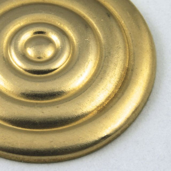 20mm Raw Brass Circle with Concentric Pattern