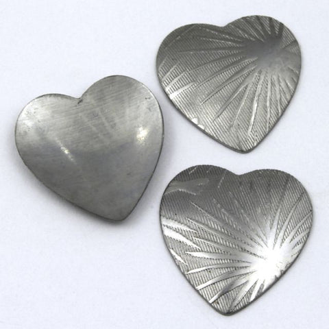 20mm Steel Dapped Heart with Palm Leaf Design