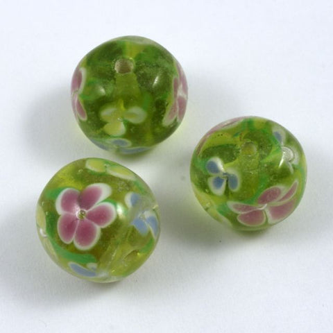 16mm Peridot Lampwork Round Bead with Pastel Flowers #LCG010-General Bead