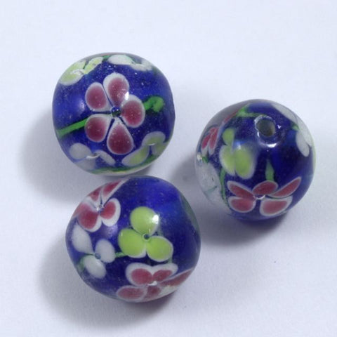 16mm Blue Lampwork Round Bead with Pastel Flowers #LCG003-General Bead