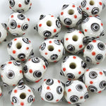12mm Handmade White Lampwork Sputnik (2 Pcs) #1118-General Bead