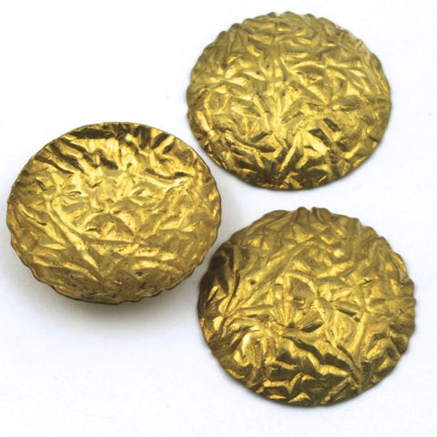25mm Raw Brass Crinkled Dome (4 Pcs) #111-General Bead