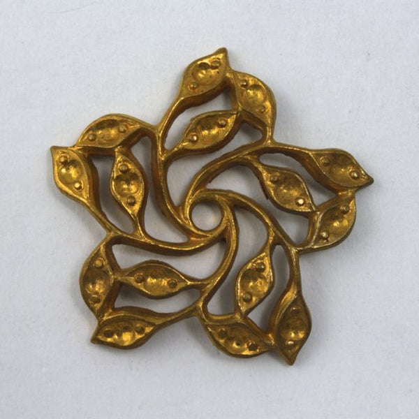 25mm Vintage Raw Brass Twist Flower Filigree #1122