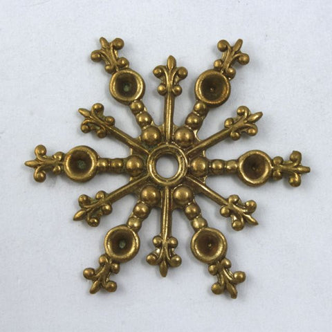 28mm Vintage Raw Brass Snowflake
