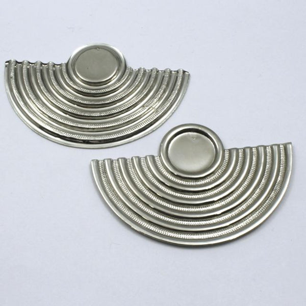 50mm Silver Concentric Deco Semi Circle Cabochon Setting