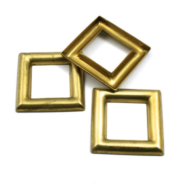 27mm Raw Brass Open Square (4 Pcs) #11