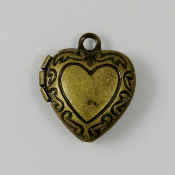 10mm Antique Brass Heart Locket