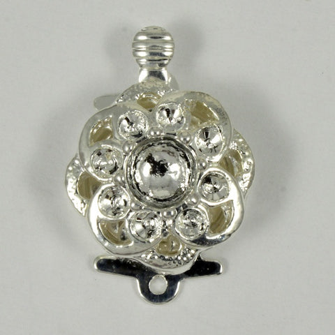 15mm Silver Plate Floral Box Clasp